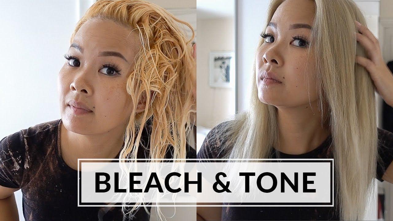 Bleach tone hair at home wella t14 youtube tone