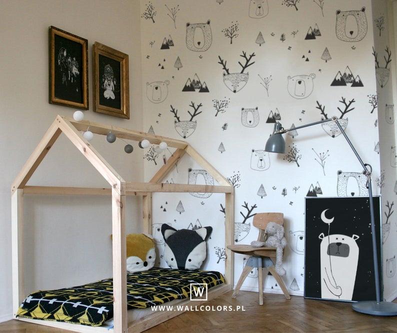 Kids wallpaper, self adhesive, bears and deer, white