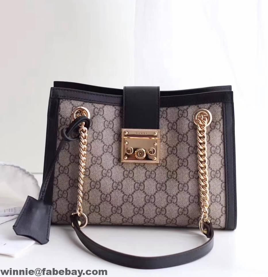 7ca75634a0c Gucci Padlock GG Supreme Canvas Shoulder Small Bag 498156 2017 ...