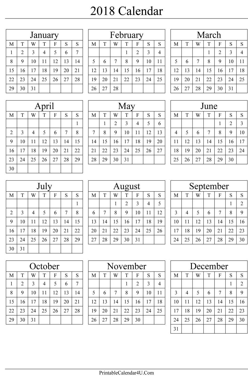 Pin By Calendar Printable On 2018 Calendar In 2018 Calendar