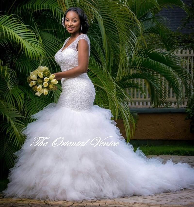 African Style Plus Size Mermaid Wedding Dresses 2016 Sparkly Beaded Deep V  Neck Bridal Gowns Robe De Marriage Wedding Gowns… f3b7462b813c