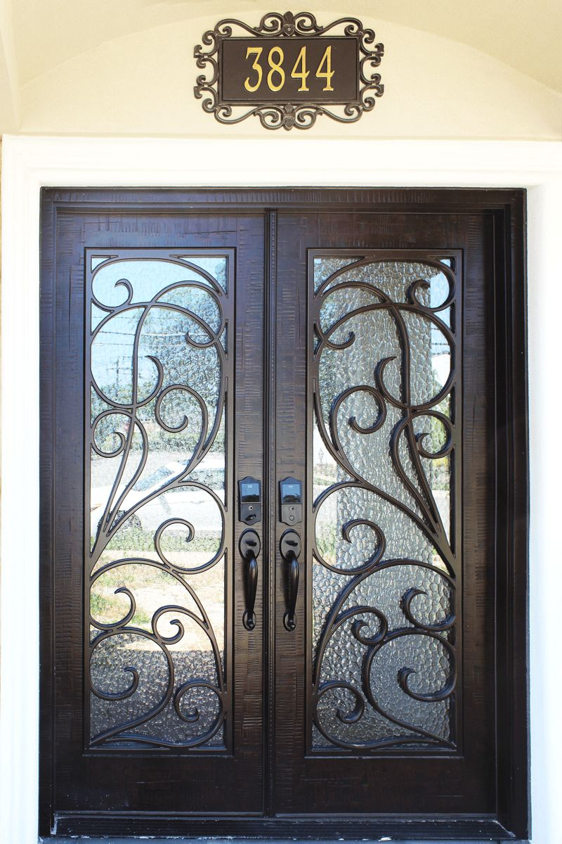 Iron Style Rustic Black Double Doors With Privacy Glass Entry Doors With Glass Entry Doors Iron Doors