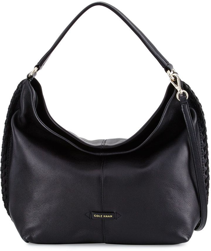 0524823254 Cole Haan Addie Whipstitched Leather Hobo Bag, Black | Handbags ...