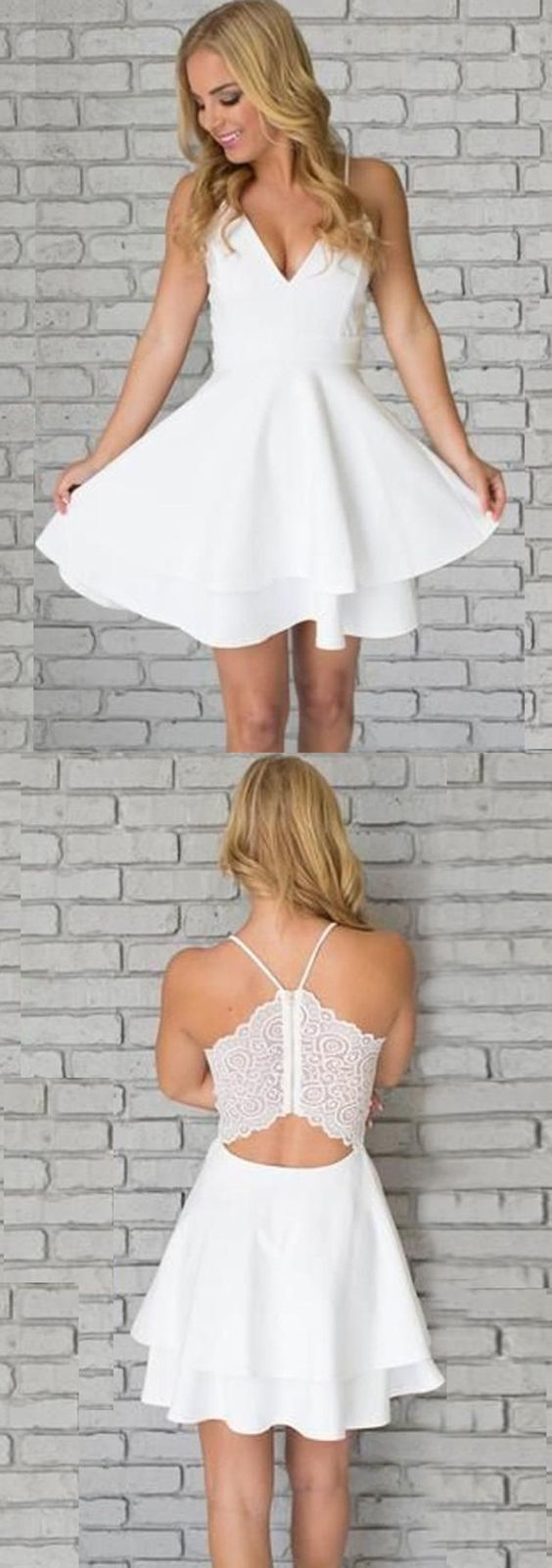 Aline spaghetti straps short white satin homecoming dress with lace