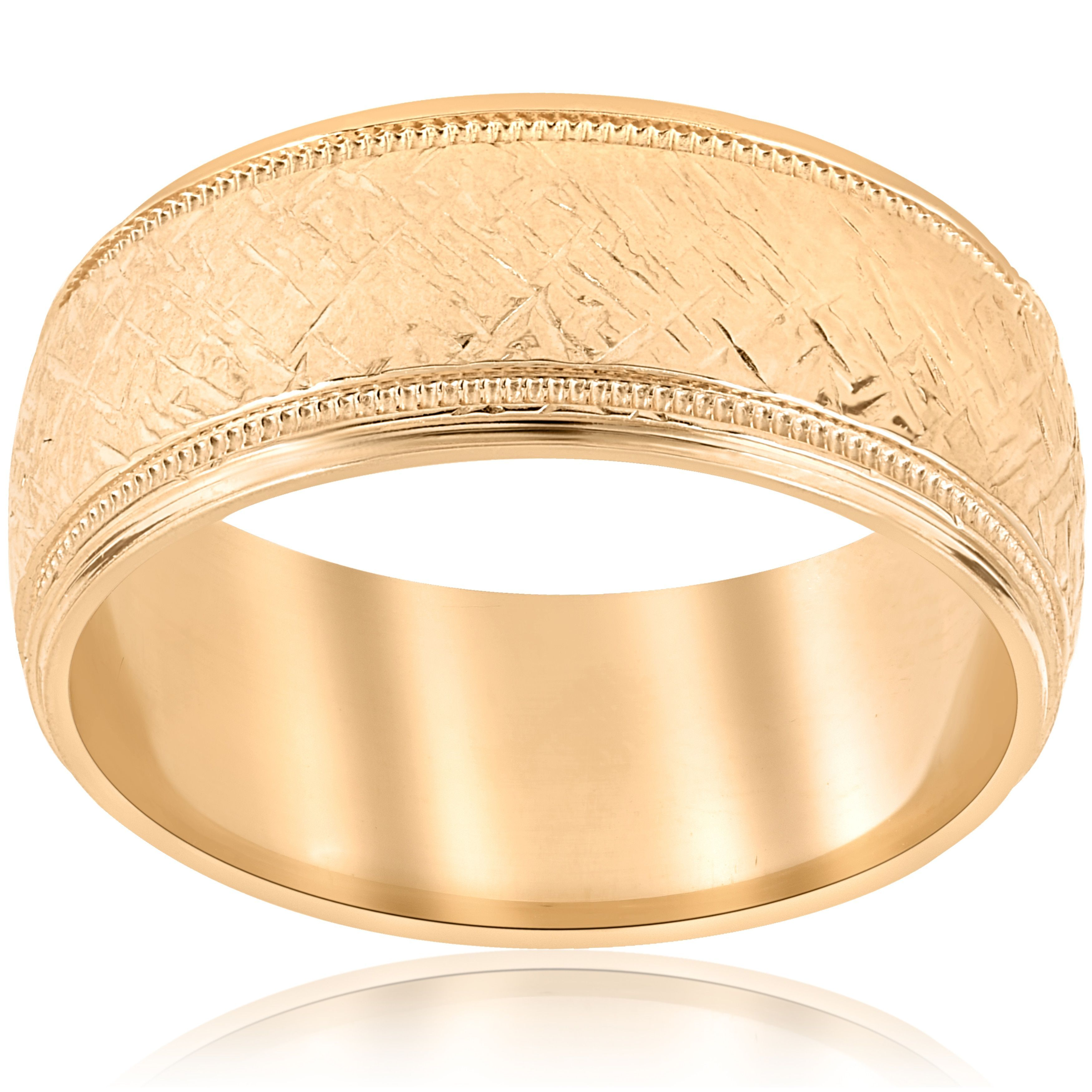 2efe842dc43f0 Bliss 10k Yellow Gold Mens Two Tone Wedding Ring Mans Ring 8MM Hand ...