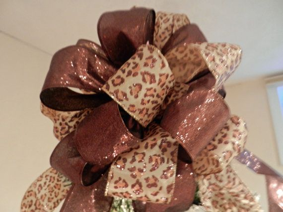 Large Christmas Tree Topper Bow Made With A Leopard