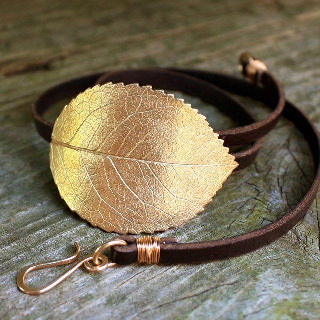 Bronze Rose Leaf Leather Wrap Bracelet