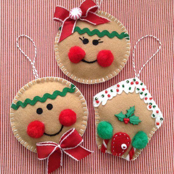 Gingerbread Christmas Ornaments Felt Gingerbread Ornaments