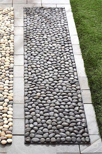 Charcoal Black Pebble Tile Garden