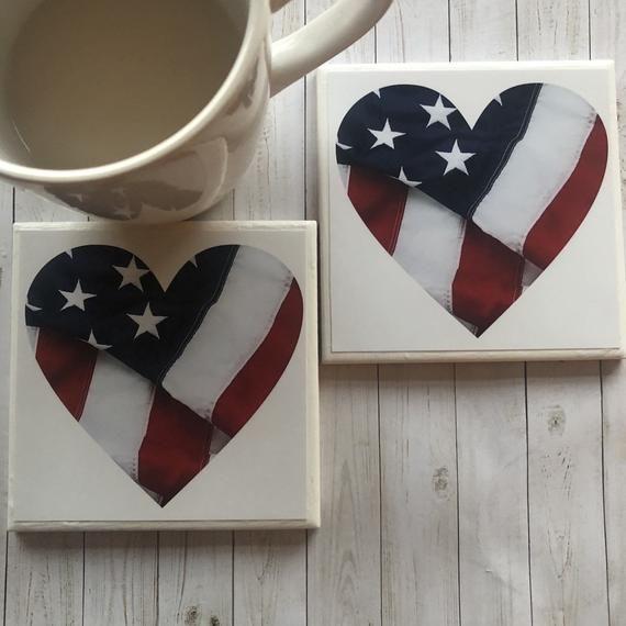 American Flag Art, Heart Flag Coasters,  Military Gift, American Flag Decor, Red White Blue Decor, U #americanflagart