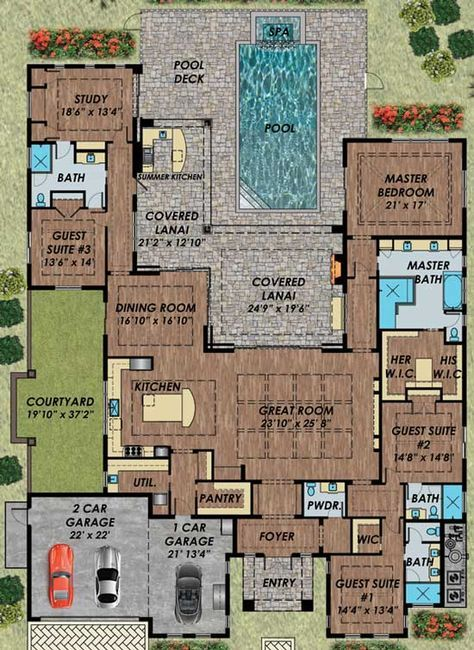 Pin By Virra Priscilla Ayuningtyas On Plans In 2021 Florida House Plans Pool House Plans Mediterranean Style House Plans