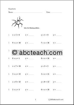 Worksheet Algebra Equations (set 2) - preview 1 education - algebraic multiplication worksheet
