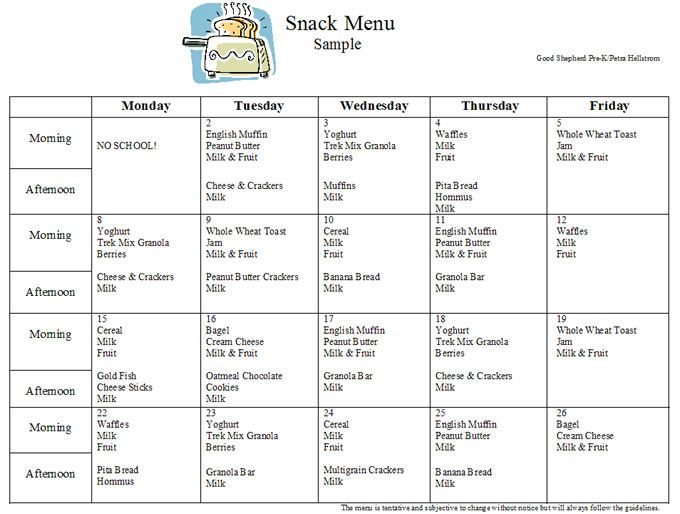 Preschool curriculum preschool 39 s snack menu sample for Daycare food menu template