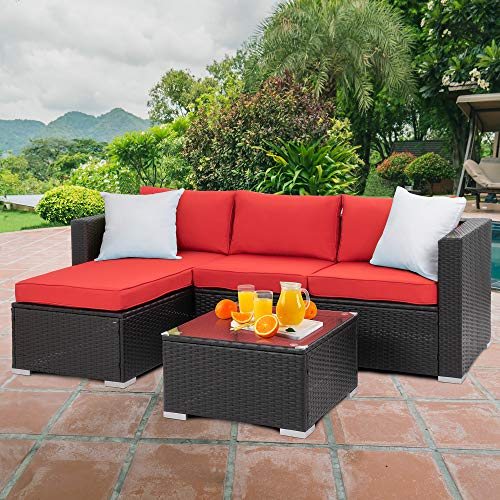 Material Made Of High Quality Pe Rattan Wicker And Steel Frame All Weather Resistant Synthetic Resin Is B Furniture Sofa Set Red Patio Conversation Set Patio
