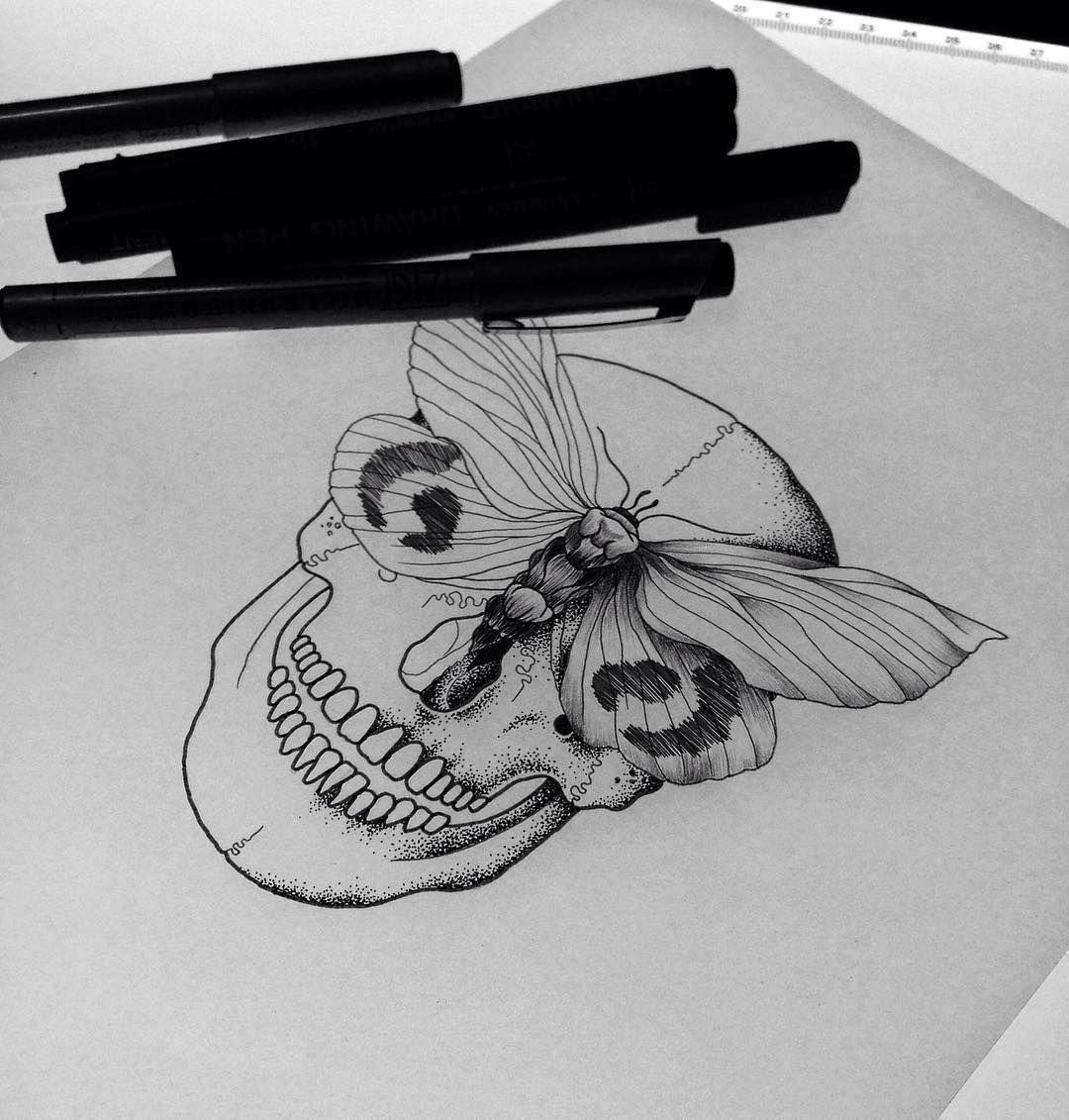 Tattoo ideas black ink coming black ink illustration skull moth tattoo design