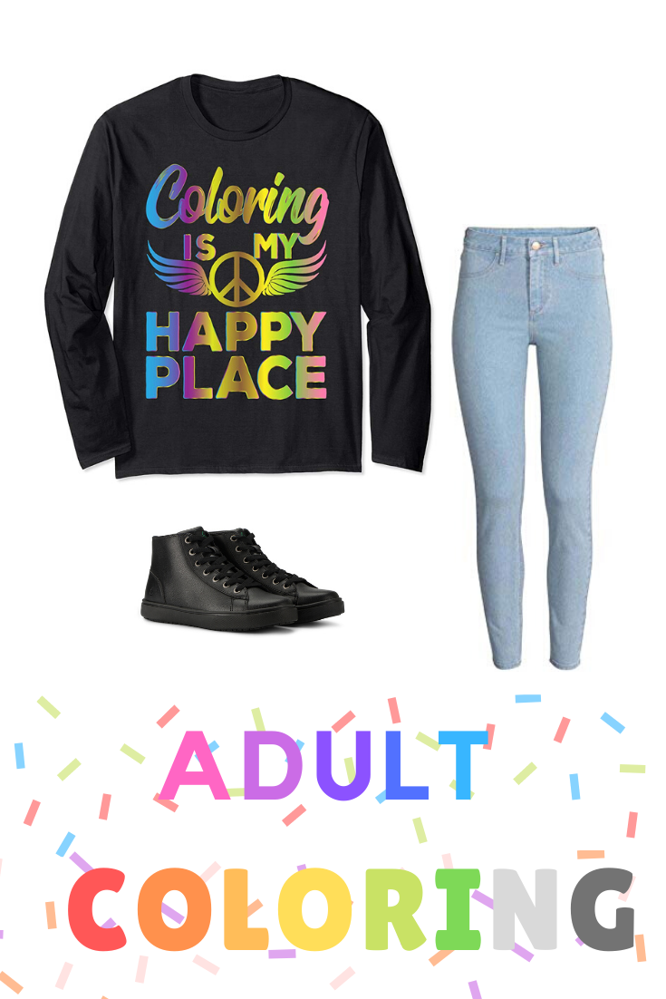 Do You Know Someone Who Is Addicted To Adult Coloring If So Look No Further Than This Cute Coloring Is My Happy Place Tee Shir Adult Coloring T Shirt Best Stocking
