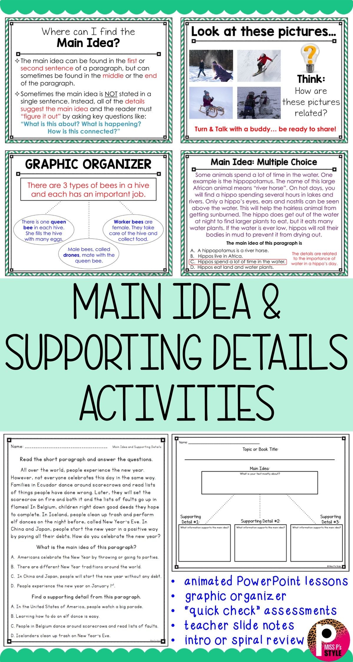 Each Students How To Identify Main Idea And Supporting Details Within Fiction And Nonfiction Tex Speech Therapy Activities Elementary Reading 3rd Grade Reading