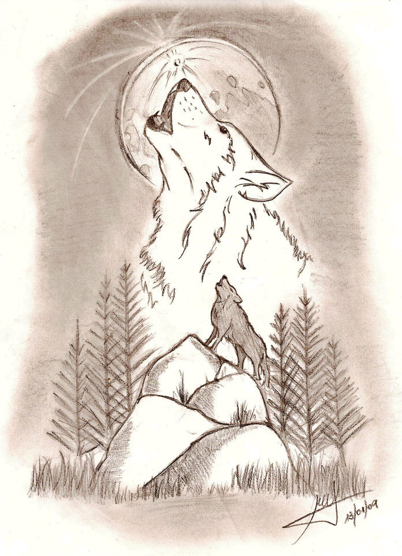 Resultado De Imagen Para Dibujos De Lobos Y La Luna Dibujos