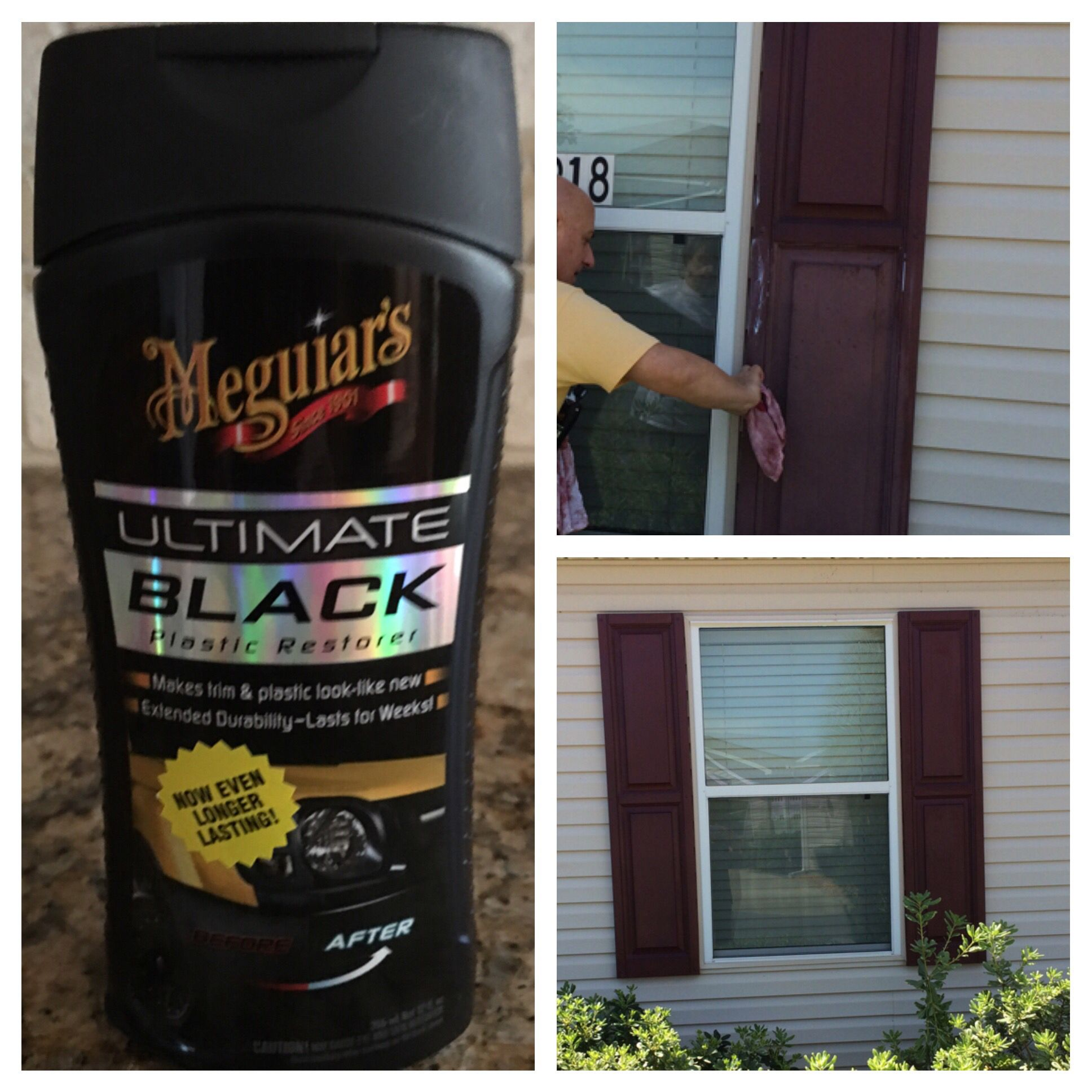 Restore Faded Vinyl Shutters With Meguiars Ultimate Black Plastic Restorer Find It At Pep Boys Automotive Paint Vinyl Shutters Vinyl Shutters Plastic Shutters