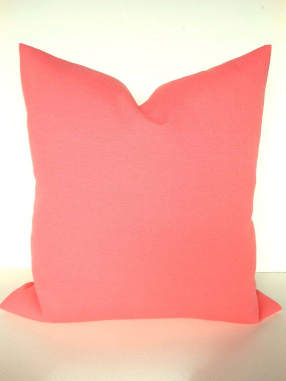 Lovely CORAL OUTDOOR PILLOWS 18x18 Decorative Throw Pillow Indoor Outdoor Pillows  18x18 Solid Coral Pillow Covers OrangeHome