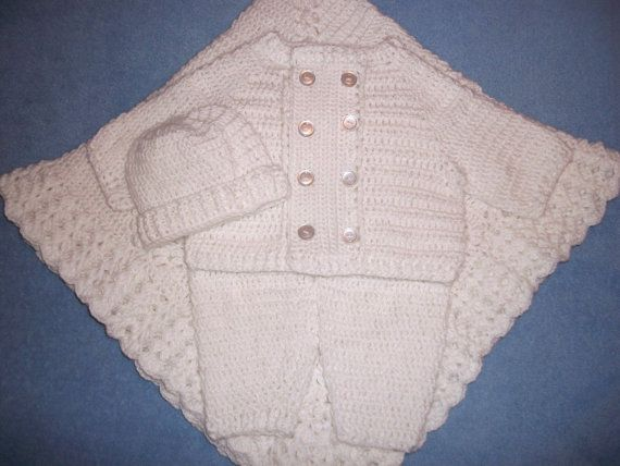 Crochet Baby Boy White Sweater, w/ Leggings Cap and Blanket Layette ...