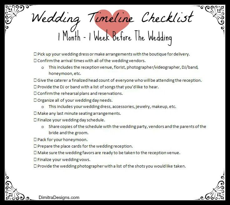 It S One Week Before Your Wedding And With Help From Our Final Wedding Timeline Checklist Y Wedding Checklist Timeline Wedding Timeline Free Wedding Magazines