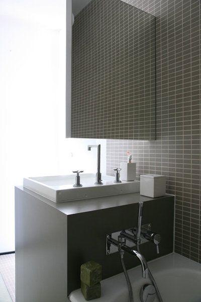 Dans la salle de bains de la chambre d\u0027amis, tout en longueur, le