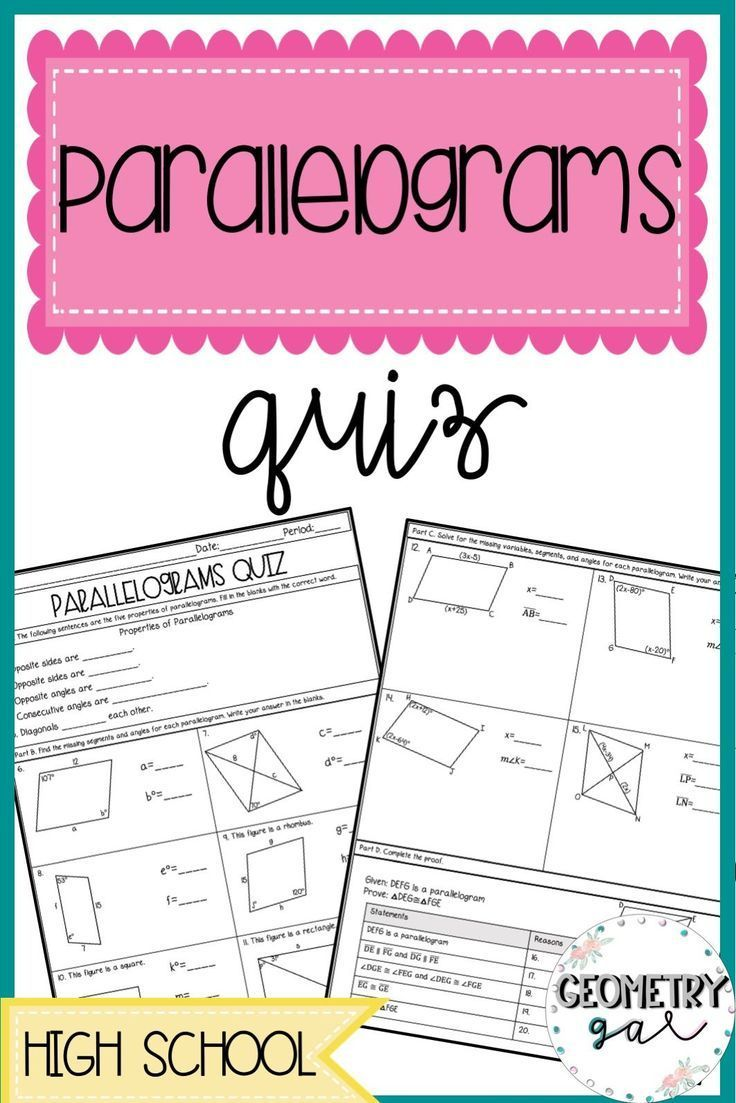 Parallelograms Quiz Geometry lessons, Secondary math