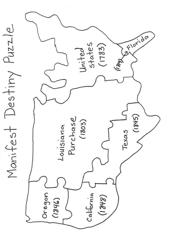 destiny From the early days of the United States many believed – Manifest Destiny Map Worksheet