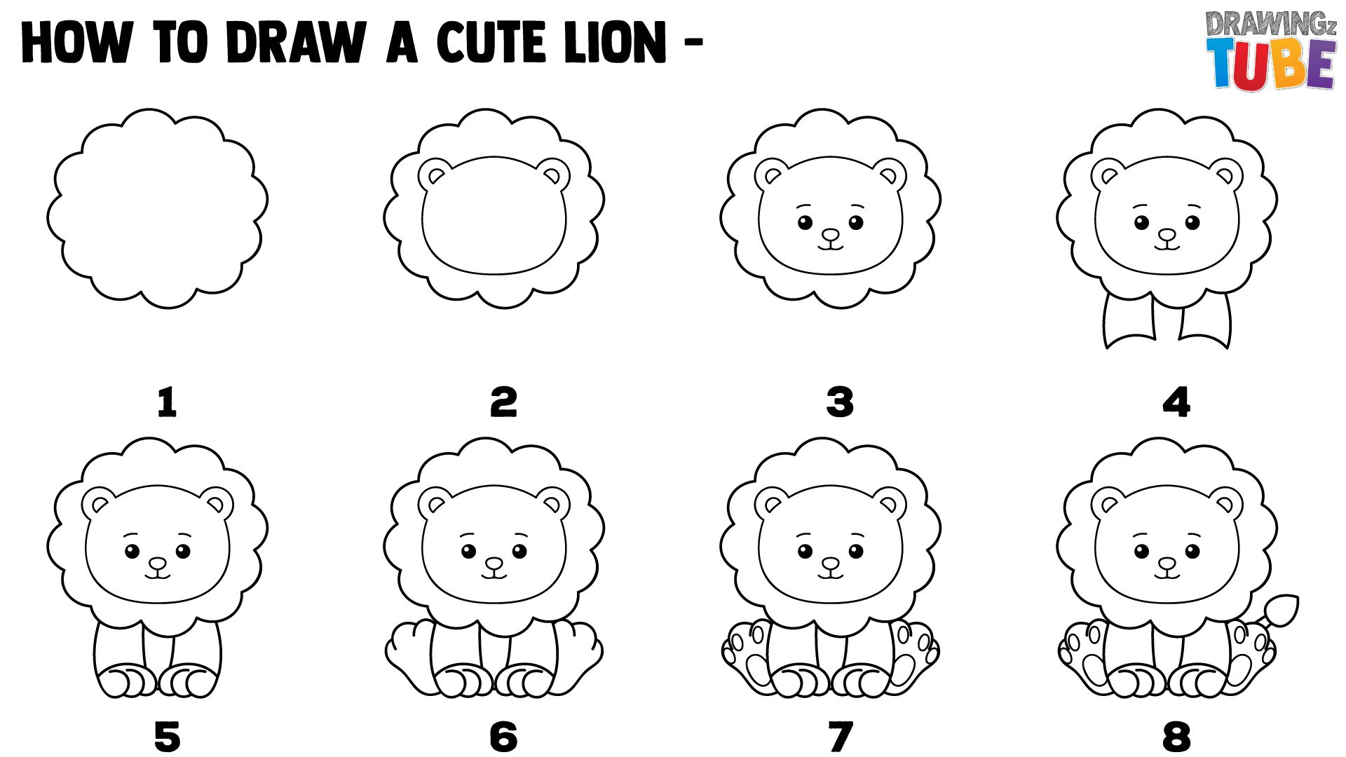 How To Draw A Cute Lion For Kids Step By Step Drawings For Kids Lions For Kids Step By Step Drawing Cute Lion