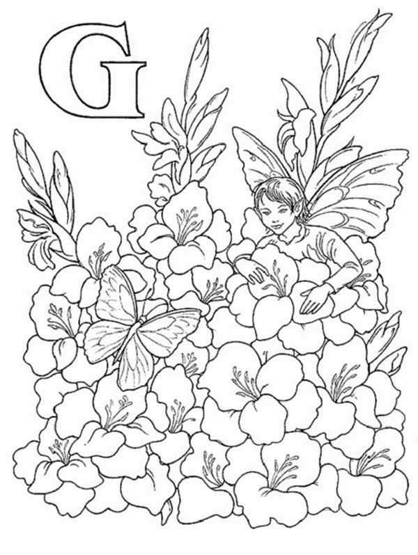 Alphabet Elf Letter G Coloring Pages An Elf Picking Flower With A Butterfly Fairy Coloring Pages Fairy Coloring Coloring Pages