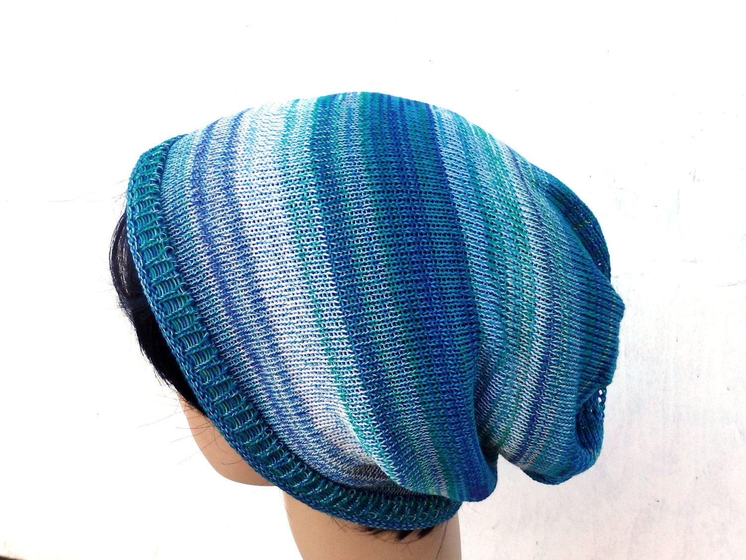 Knit hat, knitted cotton slouchy hat, knitting colorful white blue green cap, women men tam, adult beanie, handmade multicolor cap, hat by peonijahandmadeshop on Etsy