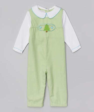 Look what I found on #zulily! Lime Gingham Layered Playsuit - Infant #zulilyfinds