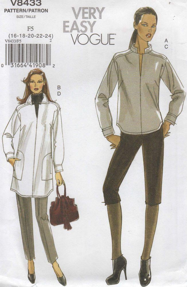 Vogue Designer Sewing Pattern 8433 Misses Sexy Tunic Jacket Pants 16 ...