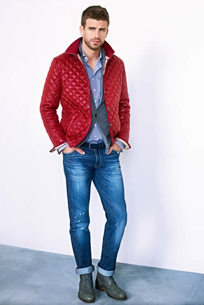 Red Quilted Jacket, Gray Wool Blazer, fitted Jeans. Men's Fall ... : red quilted jacket mens - Adamdwight.com