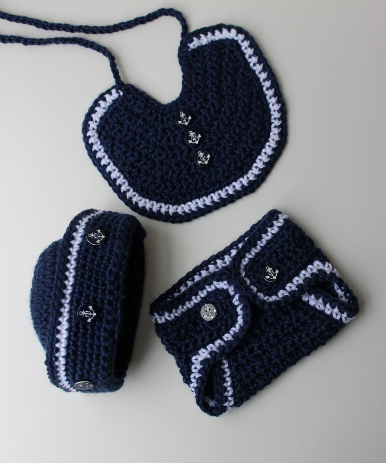 Crochet Sailor Hat Pattern - Crochet Bib Pattern - Crochet Diaper ...