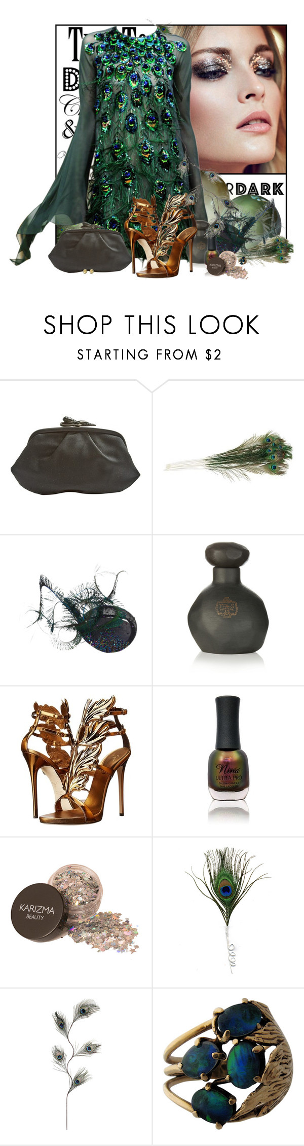 """Extravagant plumage"" by pusja76 ❤ liked on Polyvore featuring Yanina, Rodo, Joya, Giuseppe Zanotti, Charlotte Russe, Tiffany & Co. and afterdark"