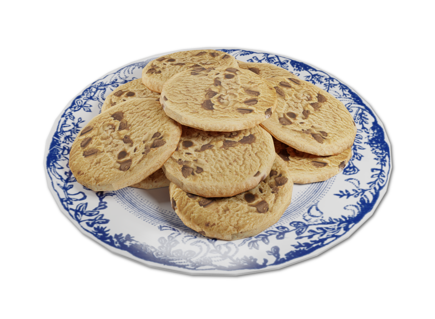 Plate Of Chocolate Chip Cookies 3d Cgi Computer Model Chocolate Chip Cookies Chocolate Chip Plates