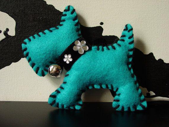 Soft Toy Christmas Decoration Dog Felt Hand Made by thewoollydog, £9.00