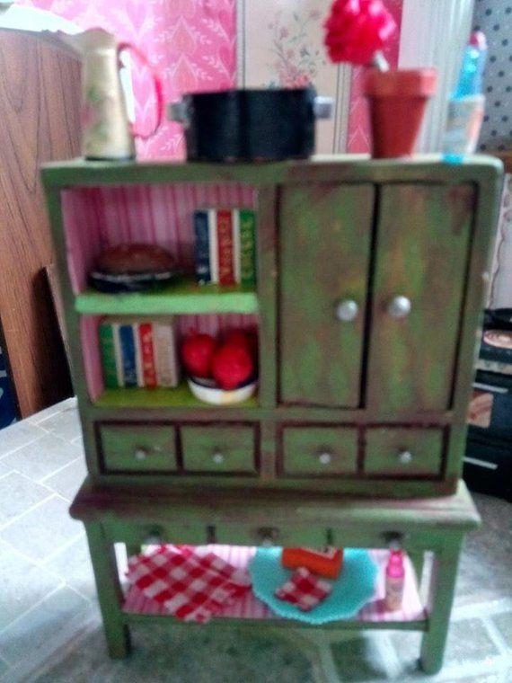 Miniature Dollhouse Kitchen Cabinet Dressed | Dollhouse ...