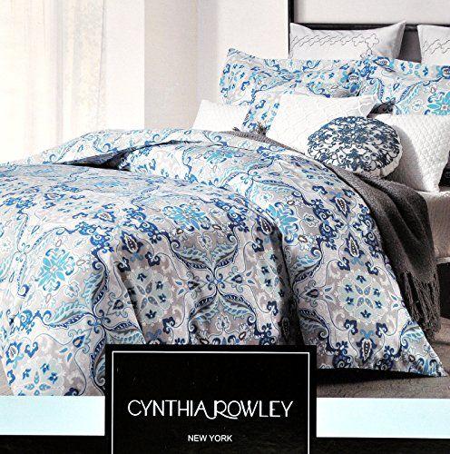 Cynthia Rowley 3pc Cotton Duvet Cover Set Gray Royal Blue