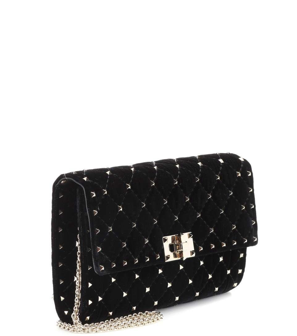 6983b514c0420 Valentino Garavani Rockstud Spike Velvet Shoulder Bag - Valentino