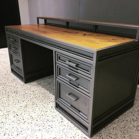 Modern Industrial Desk Executive Workplace Metal Wood Rustic Etsy Industrial Design Furniture Vintage Industrial Furniture Industrial Furniture