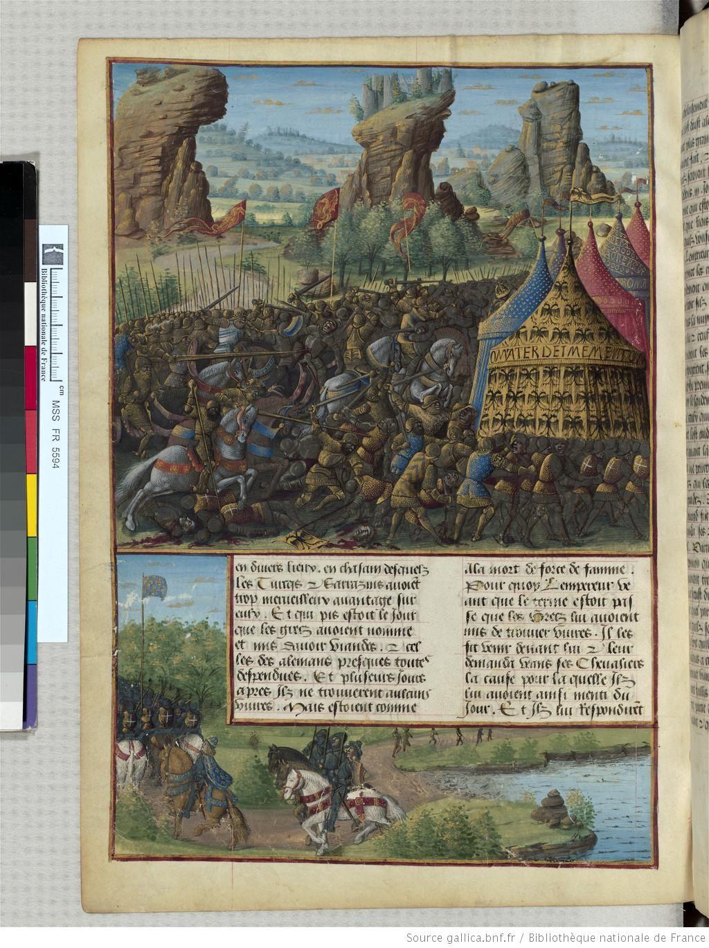 « Passages faiz oultre mer par les François contre les Turcqs et autres Sarrazins et Mores oultre marins », traité commencé à être rédigé à Troyes, « le jeudi XIIIIe jour de janvier » 1473, par l'ordre de « Loys de Laval, seigneur de Chastillon en Vendelois et de Gael, lieutenant general du roy Loys l'onziesme... gouverneur de Champaigne... par... SEBASTIEN MAMEROT de Soissons, chantre et chanoine de l'eglise monseigneur Saint Estienne de Troyes » et chapelain de Louis de Laval.