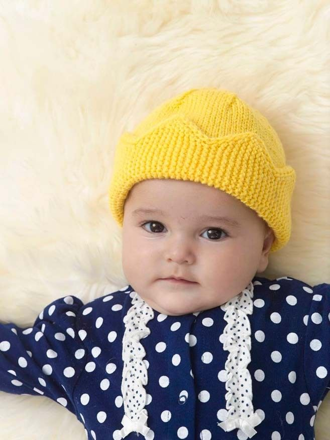 Knitting Patterns For Baby Lion Brand Baby Crown Hat In Lion Brand