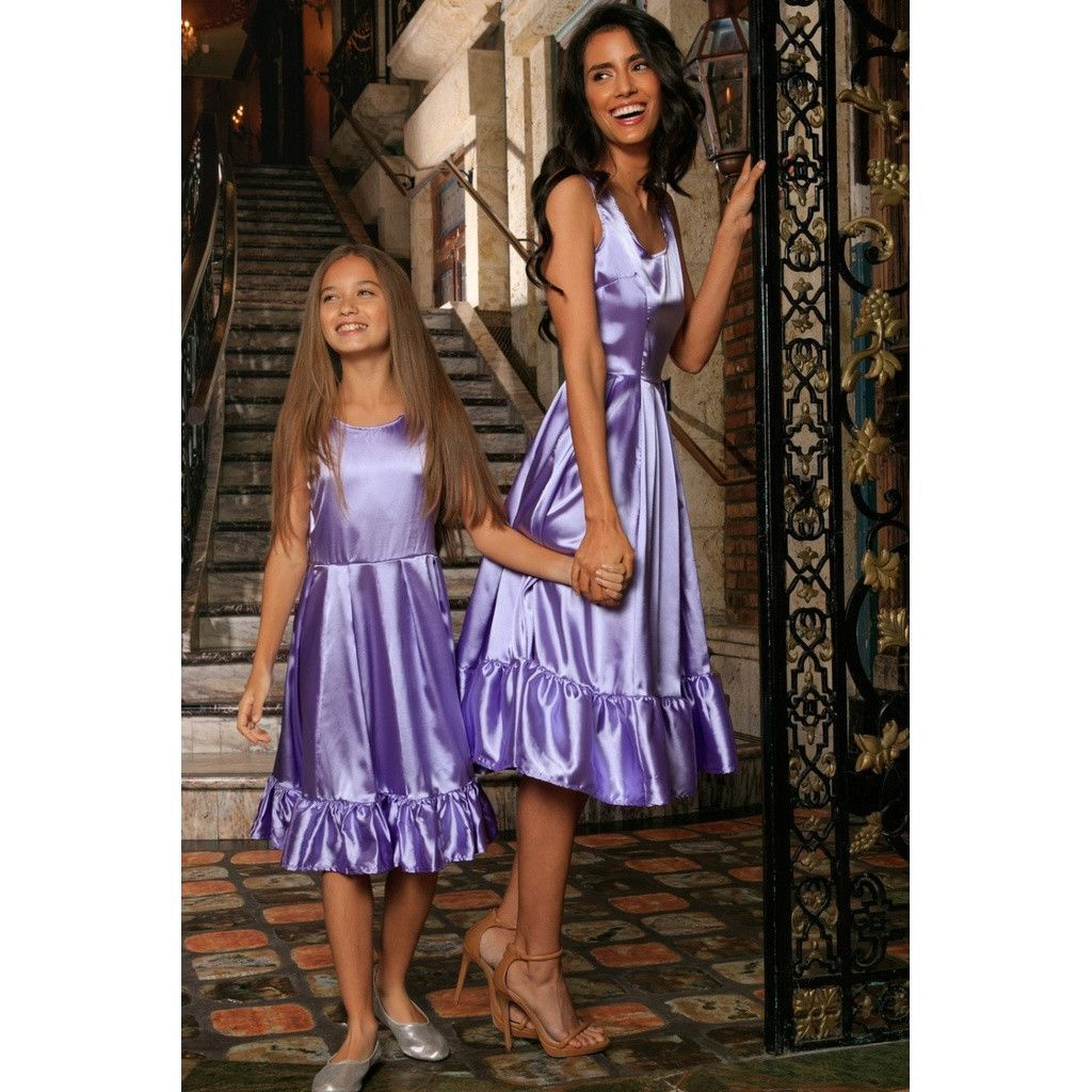 Lavender Fit & Flare Ruffle-Hem Cocktail Party Midi Mommy and Me ...