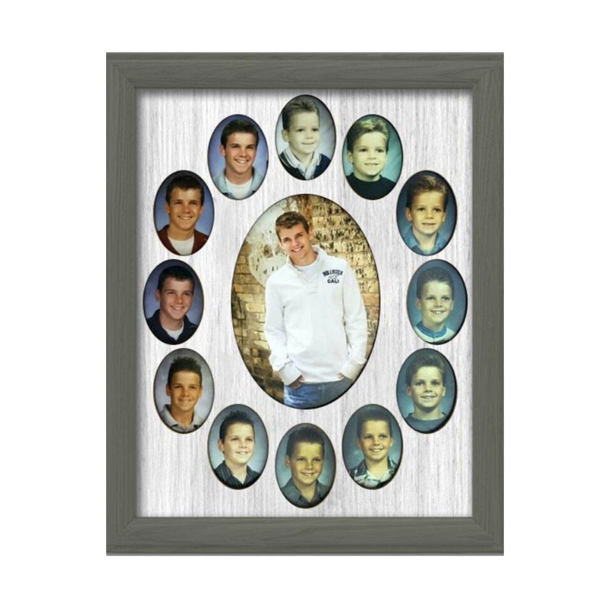 School Years Picture Frame 10 Color Options Shown With Charcoal Gray Frame Oval Graduation Collage K 12 11x14 In 2020 School Years Picture Frame Picture Frames Frame