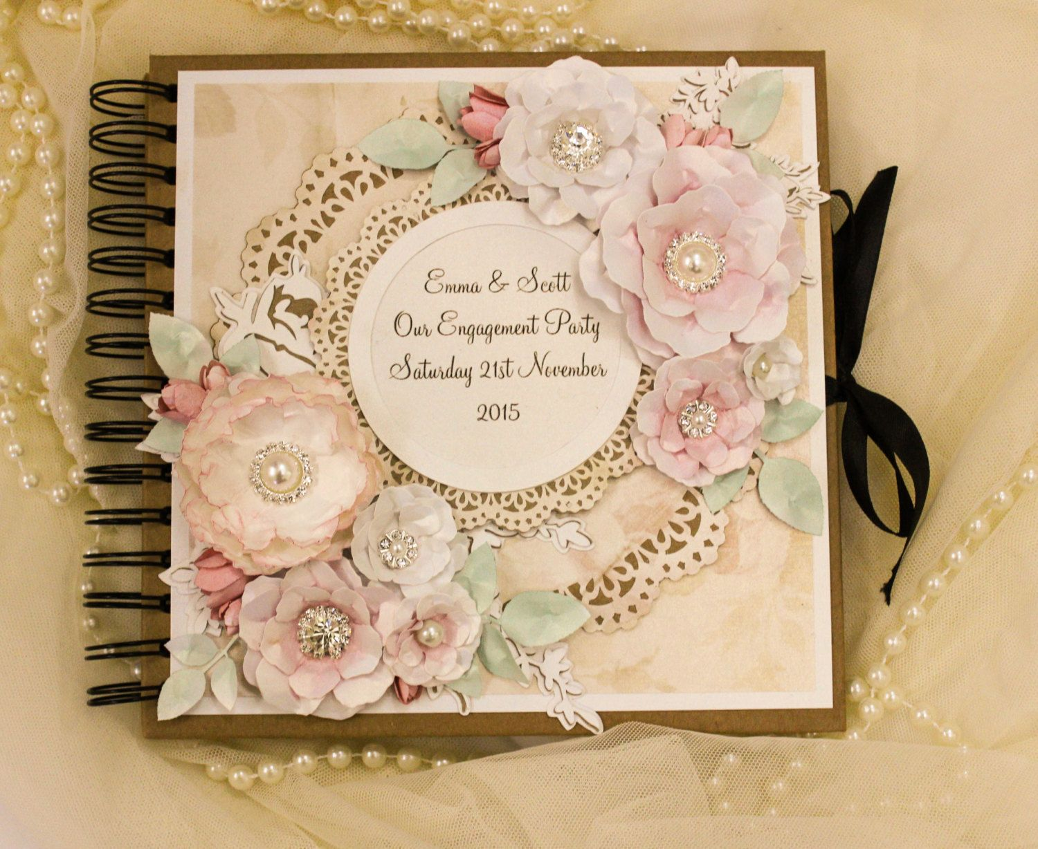Shabby Chic Vintage  Rustic wedding Guest book Photo booth book