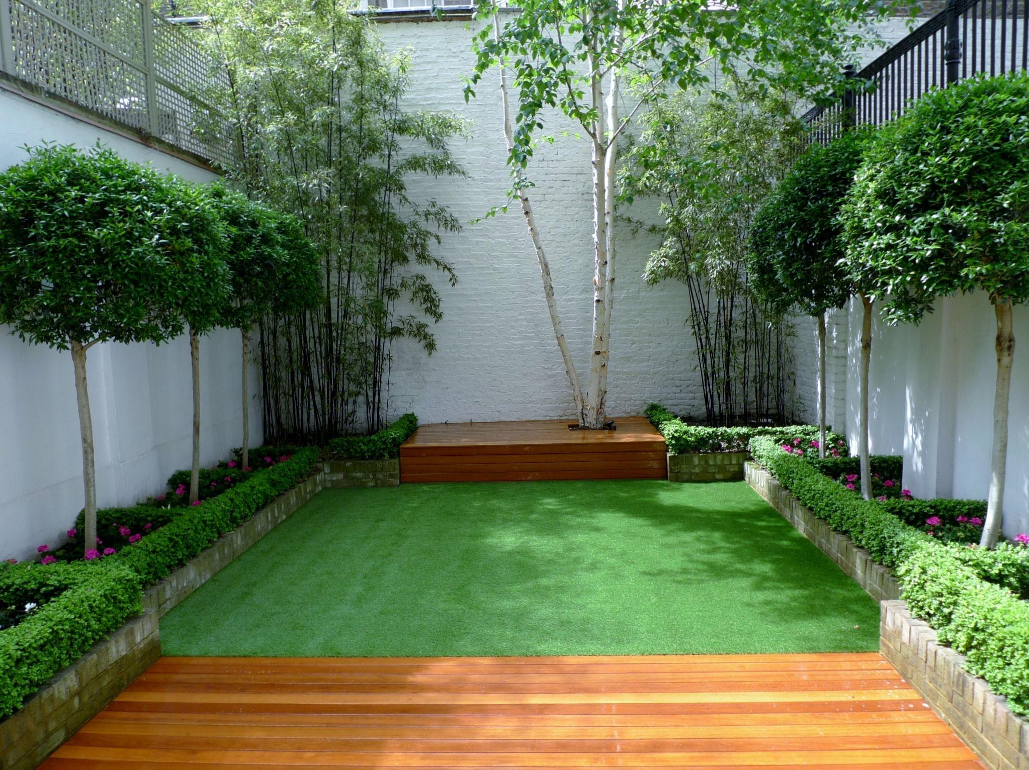Modern Garden Design Chelsea Fulham Battersea Deck Grass 400 x 300