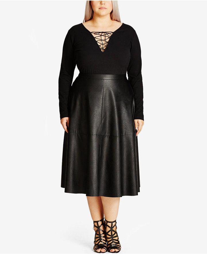 8a7546c0161ba City Chic Trendy Plus Size Faux-Leather Midi Skirt